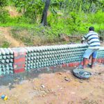 Taking inspiration from online videos, PDO in Mangalore builds walls from waste plastic bottles